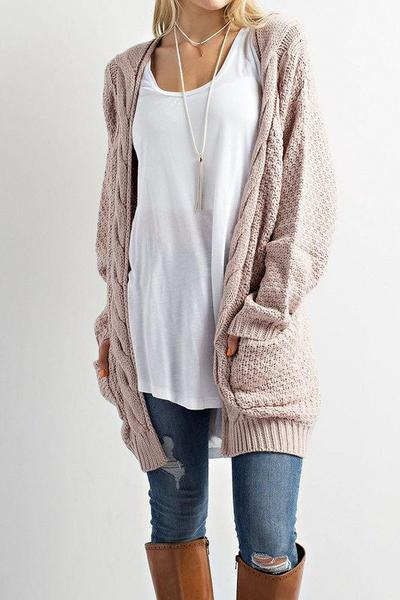 Cable Pockets Solid Color Long Cardigan