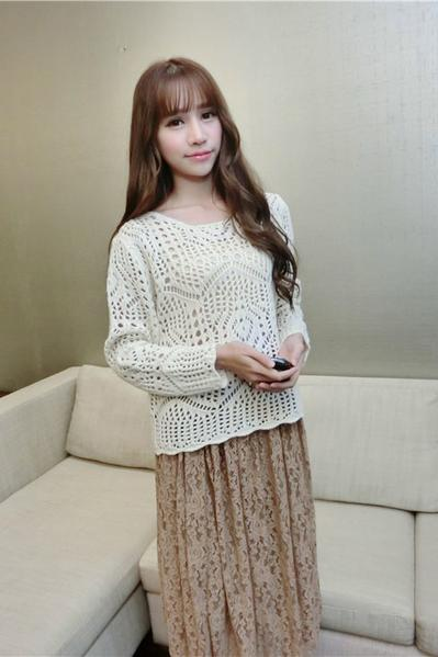 Knit Hollow Out Thin Loose Pullover Sweater