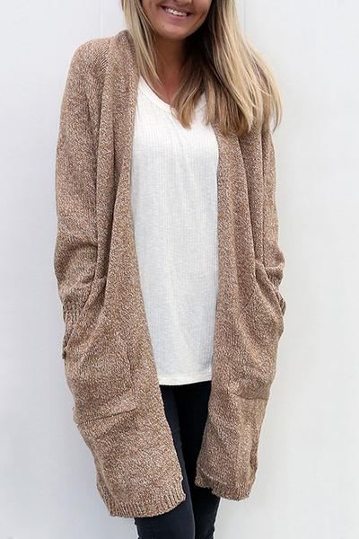 Loose Solid Color Pockets Open Long Cardigan