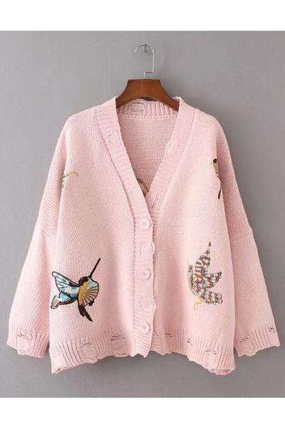 Bird Embroidery V-neck Cut Out Button Cardigan