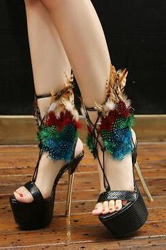 Fur Decoration Open Toe Platform Ankle Wrap Super High Stiletto Heels Sandals