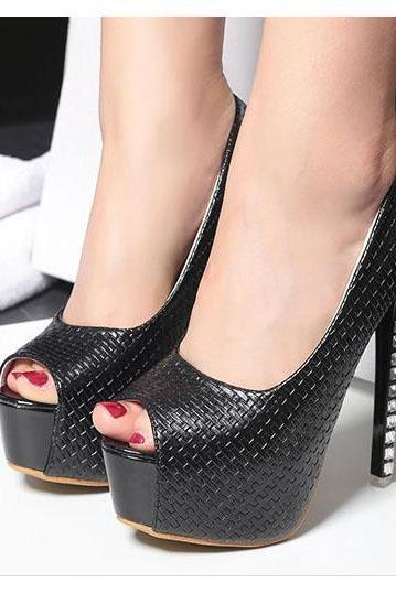 Solid Color Peep Toe Platform Stiletto High Heels Club Shoes