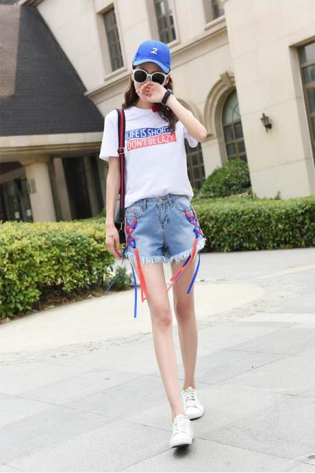 Colorful Straps Lace UP Rough Edge Middle Waist Shorts