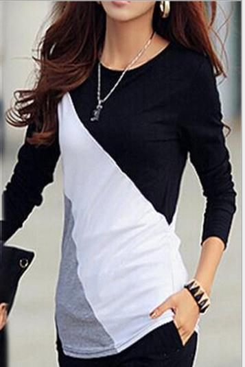Patchwork Contrast Color Long Sleeves Slim T-shirt