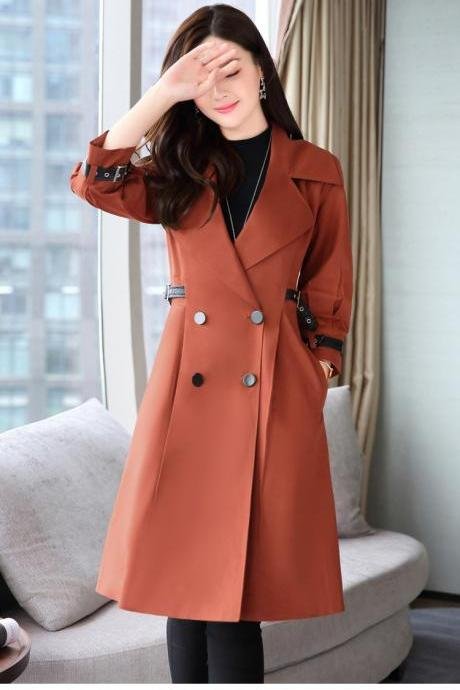 Doulble Breasted Long Sleeves Lapel Long Coat