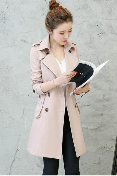 Pure Color Long Sleeves Pockets Lapel Belt Slim Long Coat
