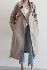 V-neck Lapel Pure Color Long Loose Belt Coat Overcoat