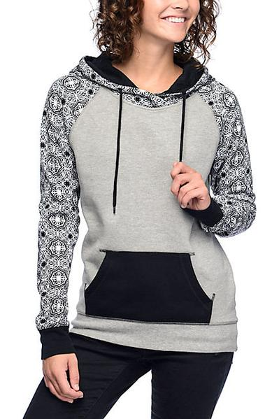 Patchwork Drawstring Pocket Slim Long Hoodie