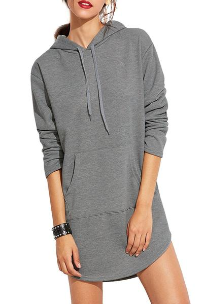 Grey Hoodie Dress Featuring Long Sleeves, Rounded Hem, and Front Pocket