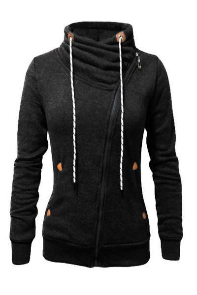 Zipper Drawstring Pockets High Neck Slim Hoodie