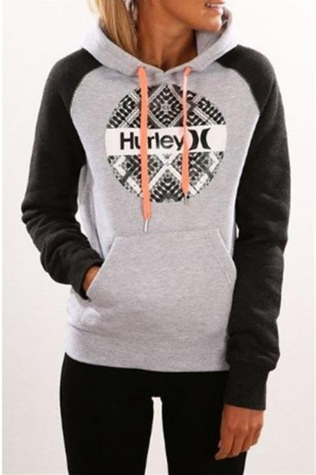 Letter Print Color Block Drawstring Pocket Hoodie