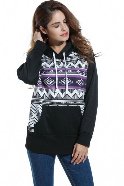 Stripes Print Pocket Drawstring Slim Hoodie
