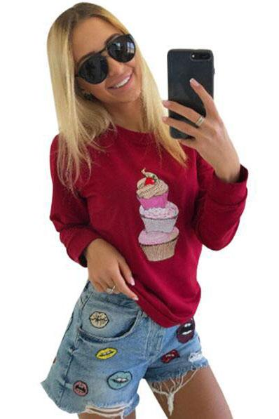Ice Cream Print Solid Color Slim Sweatshirt