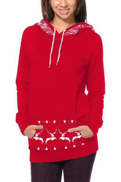 Deer Print Pocket Drawstring Long Slim Hoodie