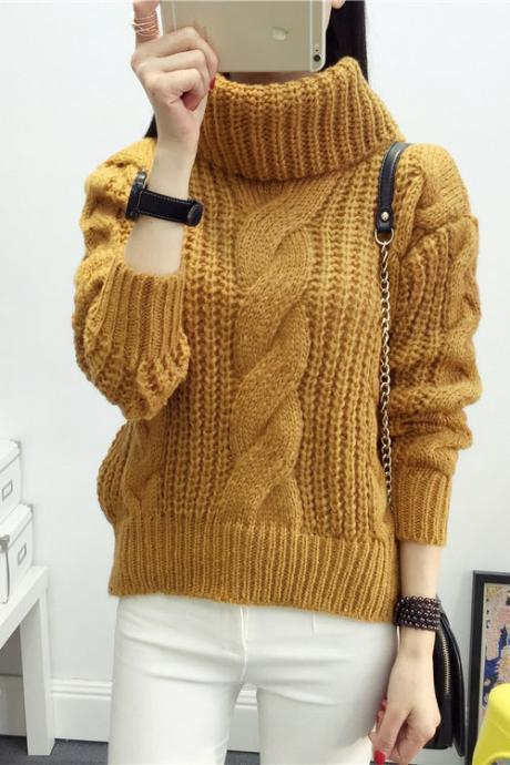 High Neck Candy Color Cable Knit Pullover Sweater