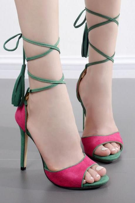 Two-Tone Peep-Toe Lace-Up Stilettos, High Heels with Tassels