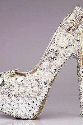 Custom Hand Made Beadings Bowknot Platform Super High Stiletto Heels Bridal Shoes