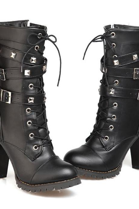 Round Toe Straps Lace Up High Chunky Heel Martin Half Boots