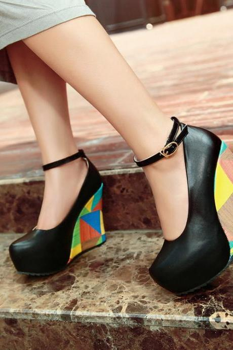 Round Toe Platform Ankle Wrap Wedge Shoes