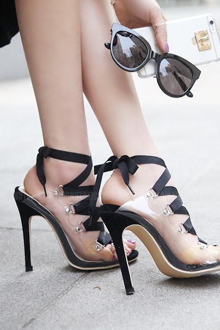Peep Toe Straps Lace Up Transparent Stiletto High Heels Sandals