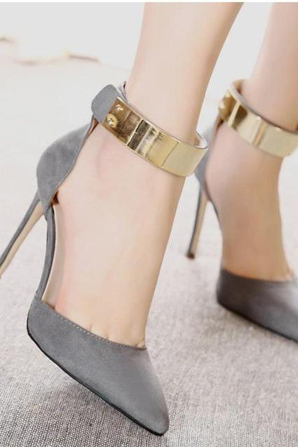 Pointed Toe Stiletto Pumps with Metallic Ankle Cuff