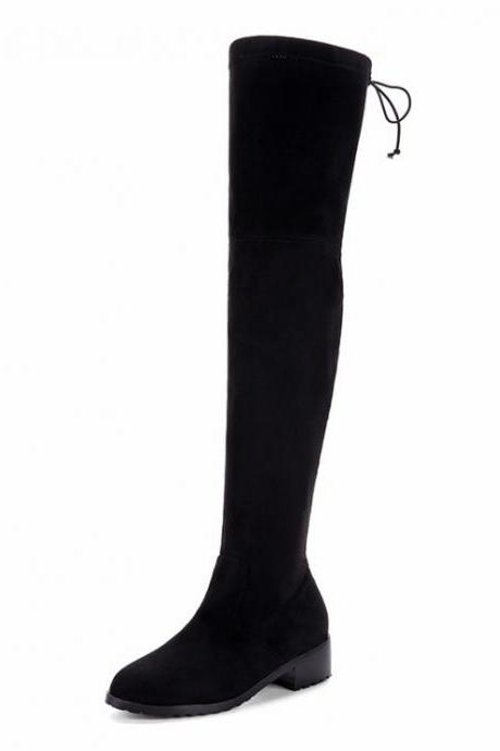 Plus Size Patchwork Round Toe Low Chunky Heel Over-knee Long Boots