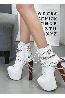 PU Pure color Rivets Lace-Up Chunky Heel Round Toe High Heels