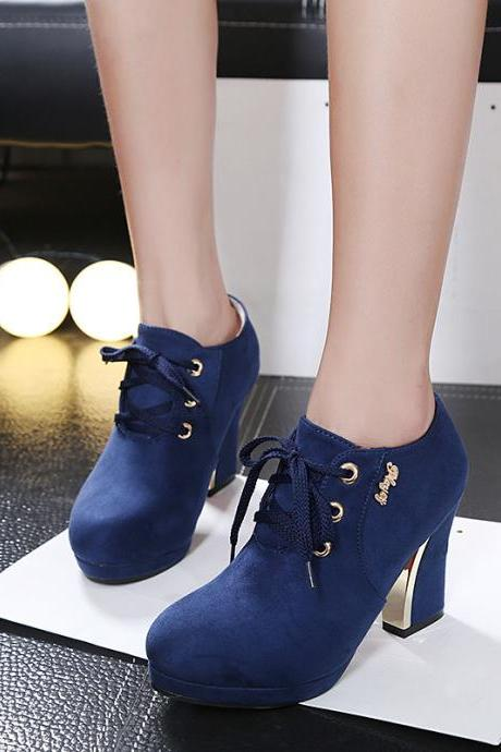 Suede Pure Color Chunky Heel Round Toe Lace-up High Heels