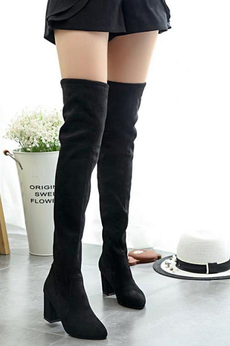 PU Pure Color Chunky Heel Round Toe Long Boots