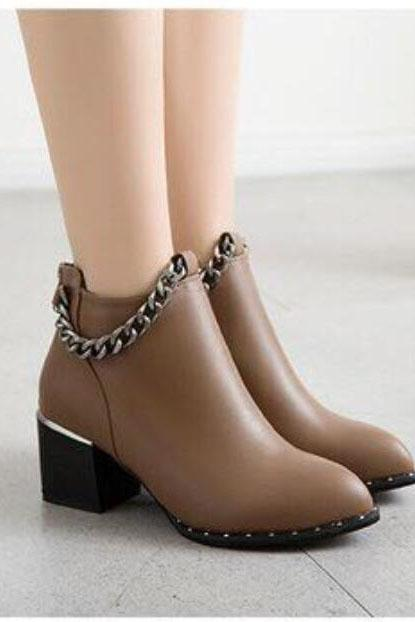 PU Pure Color Chunky Heel Pionted Toe Short Boots