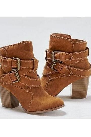 Pure Color Suede Chunky Heel Round Toe Short Boots