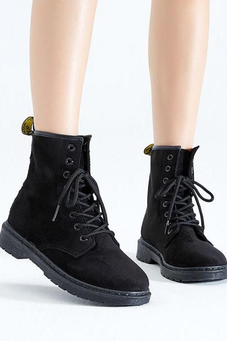 Pure Color Suede Chunky Heel Round Toe Lace-up Short Boots