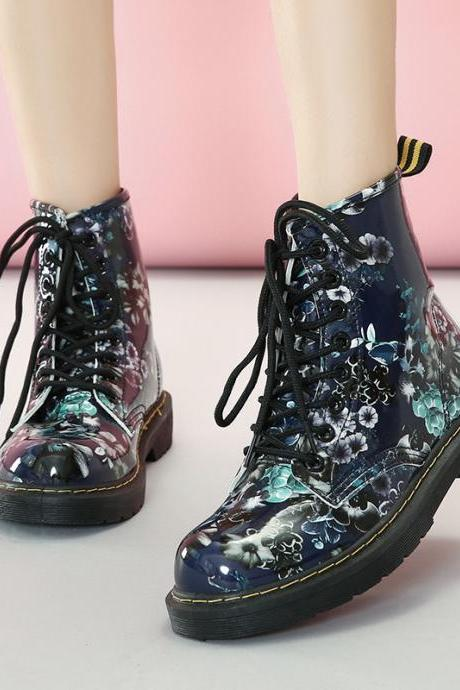 PU Print Chunky Heel Round Toe Lace-up Short Boots