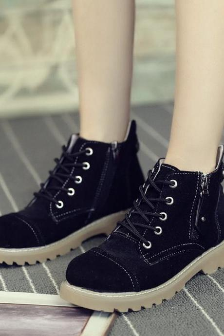 Suede Pure Color Chunky Heel Round Toe Lace-up Short Boots
