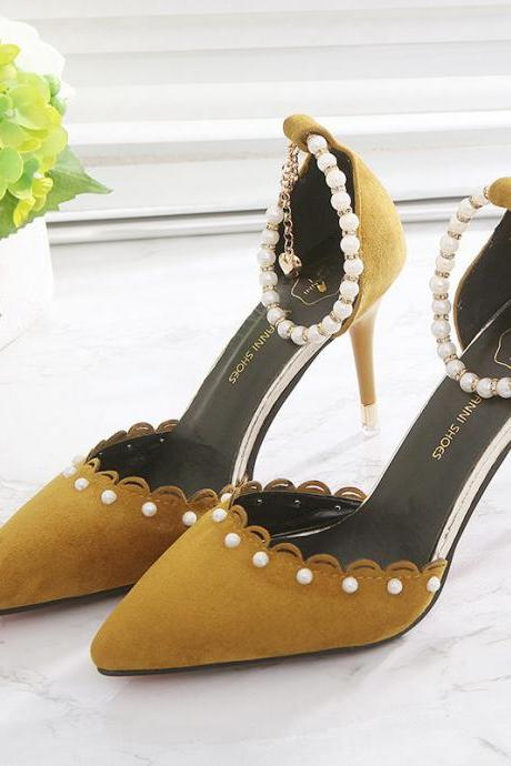 Suede Pure Color Stiletto Heel Pointed Toe High Heel Sandals