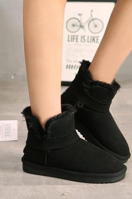 Suede Pure Color Flat Round Toe Short Boots