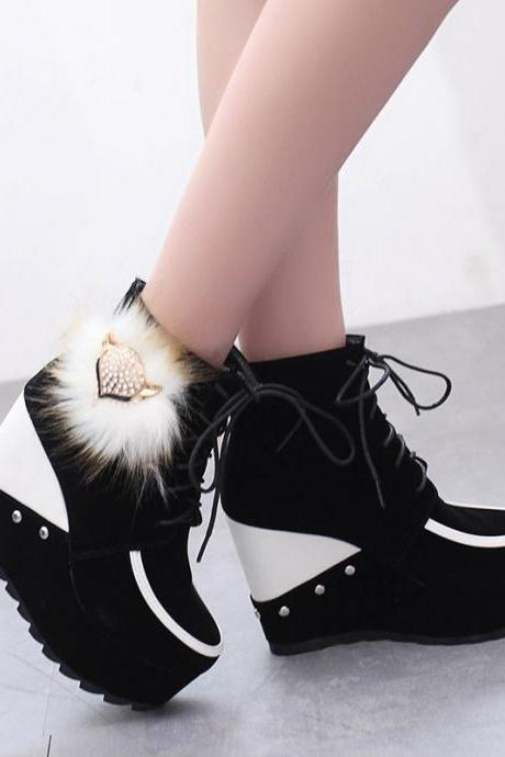 Scrub Pure color Rivets Lace-Up Slope Heel Round Toe High Heels