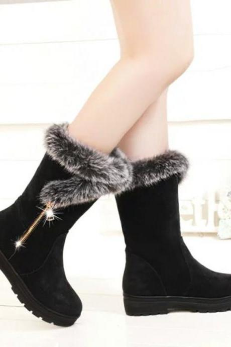 PU Pure color Chunky Heel Zipper Round Toe Boots