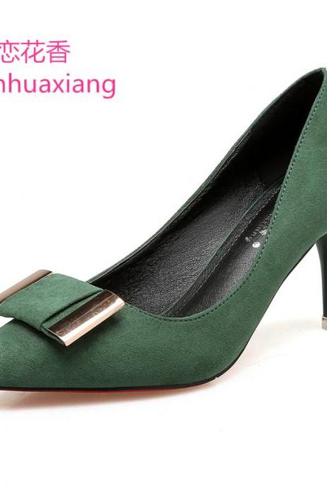 Suede Pure Color Stiletto Heel Pointed Toe High Heels