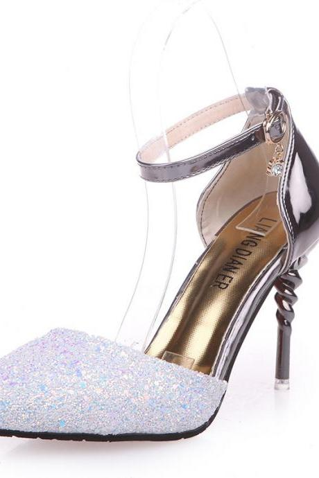 Rhinestone Embellished Pointed-Toe Metallic Ankle Strap High Heel Stilettos