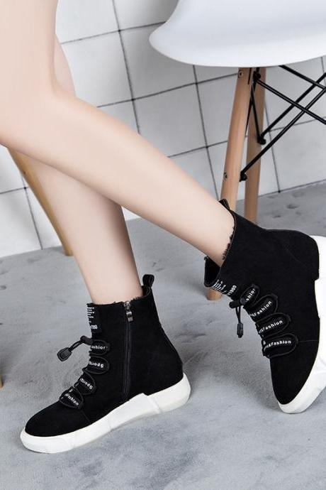 Shoes Pure Color Round Toe Suede Lace-Up Boots