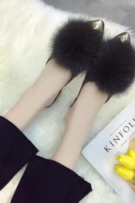 Fur Pointed-Toe Slip-On Mules
