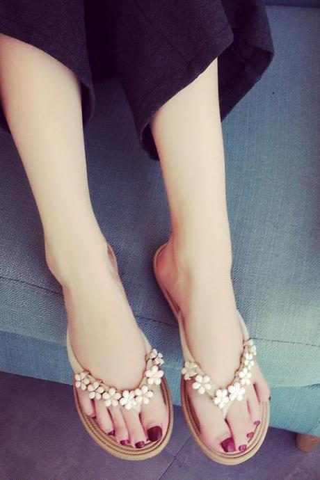 PU Flower Slip-on Beads Round Toe Slip-on Sandals