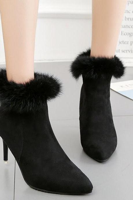 Pure Color Suede Stiletto Heel Pionted Toe Short Boots