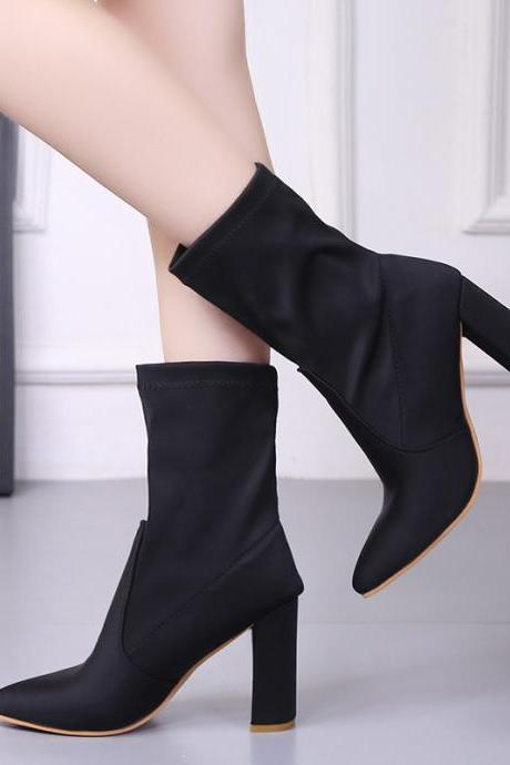 Black Pointed-Toe Mid-Calf Chunky Heel Sock Boots