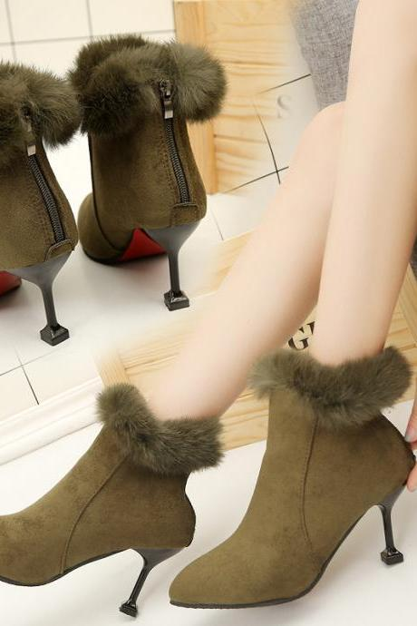 Suede Pure Color Stiletto Heel Pointed Toe Short Boots