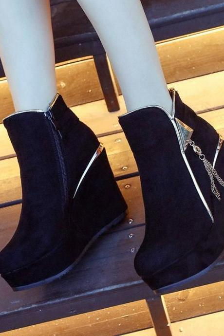Suede Pure color Rivets Zipper Slope Heel Round Toe Boots