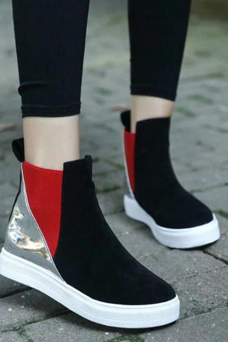 Patchwork PU Slope Heel Round Toe Short Boots