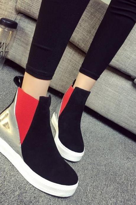 Suede Patchwork Flat Round Toe Boots
