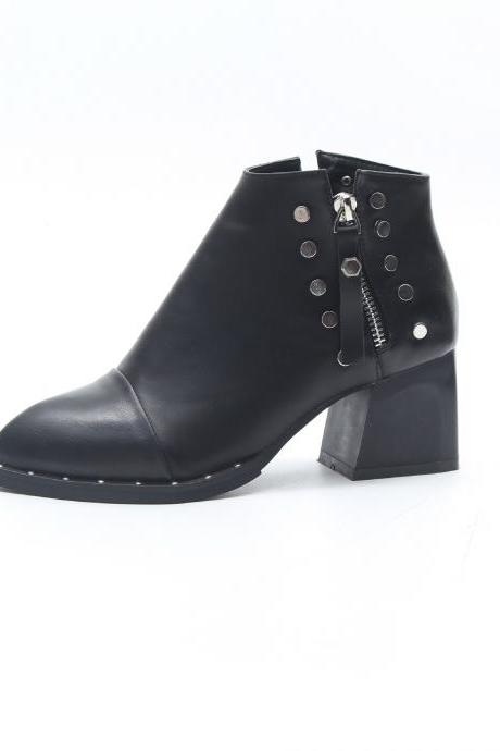 Pure Color PU Chunky Heel Round Toe Zipper Short Boots